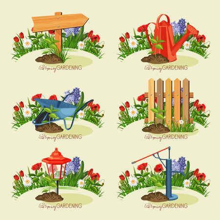 Illustration for Card gardener set. Spring gardening. - Royalty Free Image