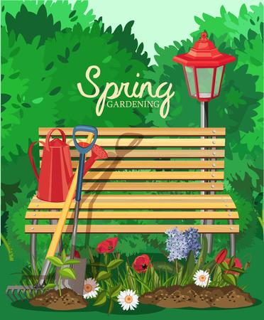Illustration pour Garden card poster design. Vector illustration - image libre de droit