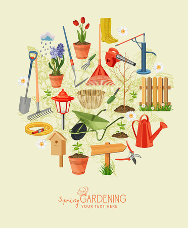 Illustration for Spring gardening. Garden icon set. Vintage poster - Royalty Free Image