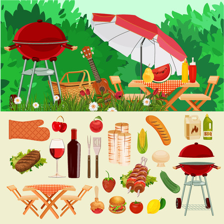 Illustration pour Vector illustration family picnic. Summer spring barbecue and picnic icons set. Vintage style. Snacks vegetables healthy food. Party items decorations. Romantic dinner lunch for lovers outdoors. - image libre de droit