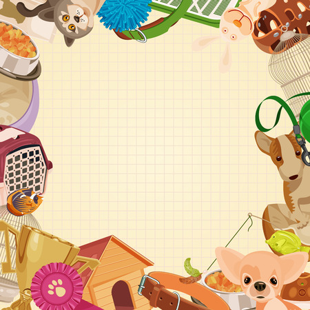 Ilustración de Pet shop background with pets. - Imagen libre de derechos