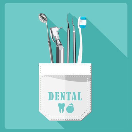 Illustration pour Dental care symbols. Teeth dental care mouth health set with inspection dentist treatment isolated vector illustration - image libre de droit