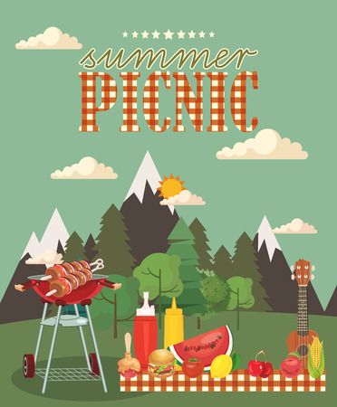 Ilustración de Vector family picnic illustration. Food and pastime objects on green background. Barbecue object, picnic items. Creative banner with food and nature. - Imagen libre de derechos