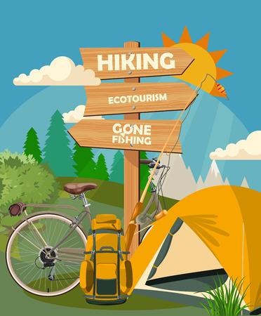 Illustration pour Hiking and camping. Summer landscapes. Vector illustration. Flat design. - image libre de droit