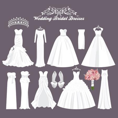Photo pour Vector wedding dresses in different styles. Fashion bride Dress. White dress, accessories set. - image libre de droit