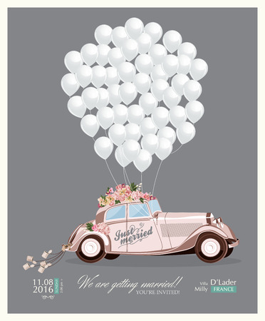 Foto de Vintage wedding invitation with just married retro car and white balloons - Imagen libre de derechos
