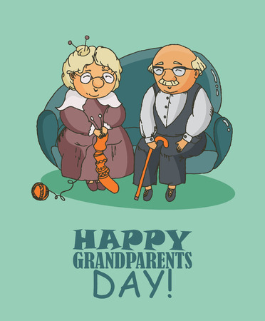 Illustration for Happy grandparents day vector greeting card in doodle design. Happy retired couple - Royalty Free Image
