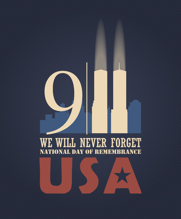 Illustration pour 911 Patriot Day, September 11. Never Forget. National day of remembrance. - image libre de droit