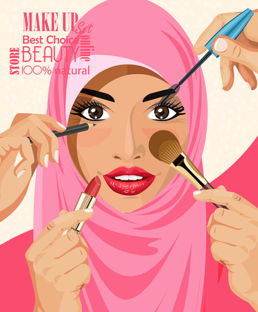 Ilustración de Many hands with cosmetics brush doing make up of glamour Arab women in hijab - Imagen libre de derechos