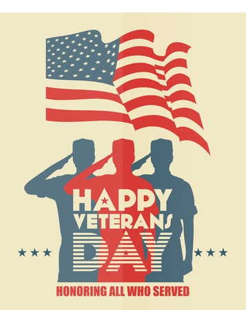 Illustration pour Veterans day poster. US military armed forces soldier in silhouette saluting - image libre de droit