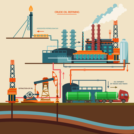 Illustration pour Oil recovery, oil rig, oil industry set with extraction refinery transportation petroleum vector illustration - image libre de droit