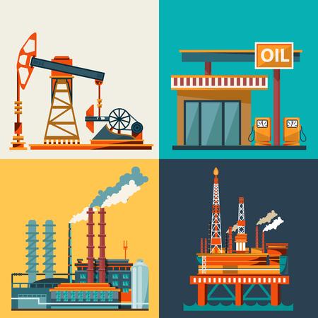 Illustration pour Oil industry business concept of gasoline diesel production fuel distribution and transportation icons composition illustration - image libre de droit