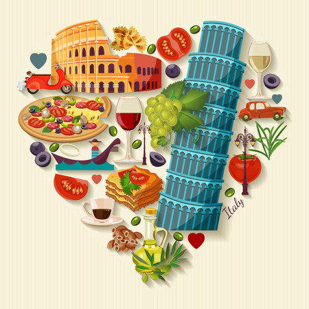 Illustration for Italy love - heart shape with icons. Vintage style. Travel Concept - Royalty Free Image