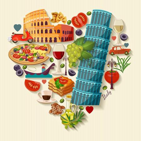 Illustration pour Italy love - heart shape with icons. Vintage style. Travel Concept - image libre de droit