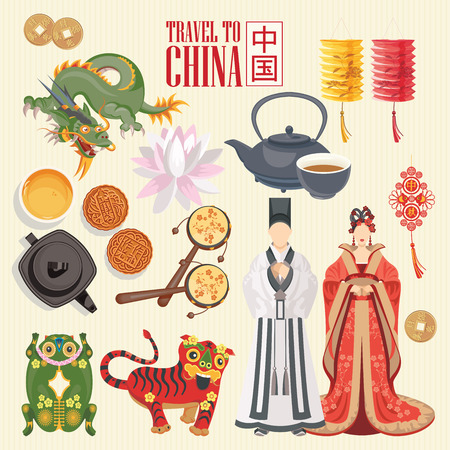 Illustration pour China travel vector illustration. Chinese set with architecture, food, costumes, traditional symbols in vintage style. Chinese text means China - image libre de droit