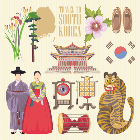 Illustration for South Korea travel poster with pagodas and traditional signs. Korea Journey card with korean objects - Royalty Free Image