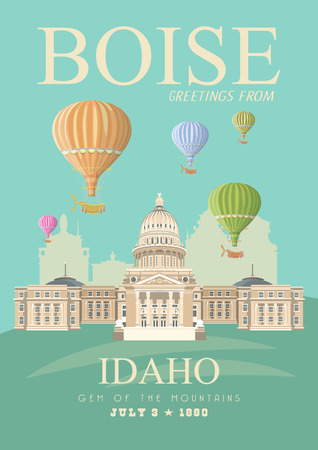 Illustration pour Idaho vector travel poster. United States of America card. USA banner - image libre de droit