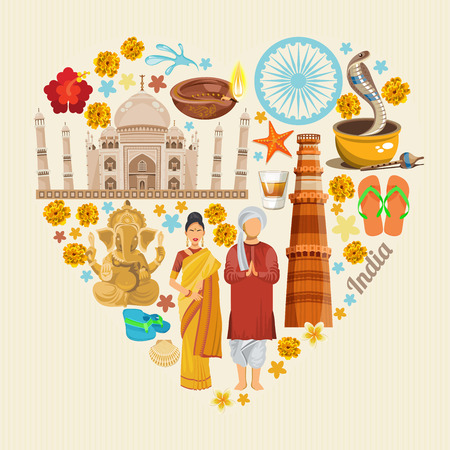 Illustration for India vector illustration. Indian colorful poster. Independence day. - Royalty Free Image