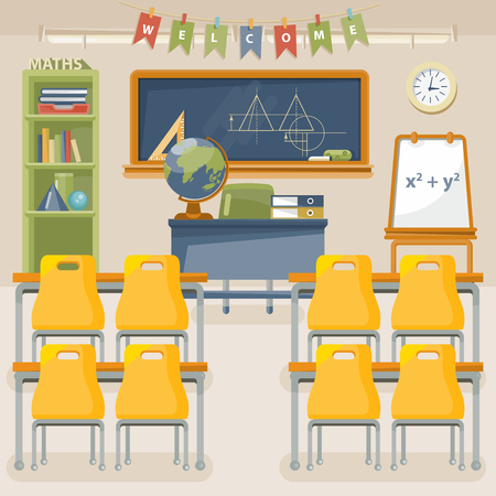 Illustration pour Back to school vector illustration with classroom in vintage style. - image libre de droit