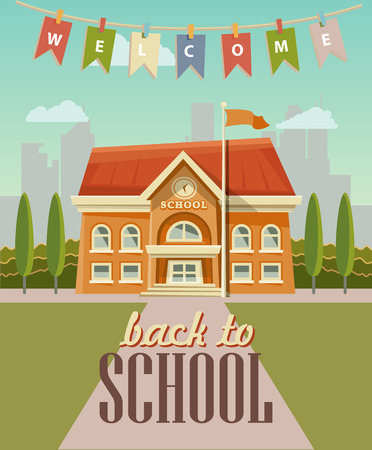 Illustration pour Back to school vector illustration with school building in vintage style. - image libre de droit