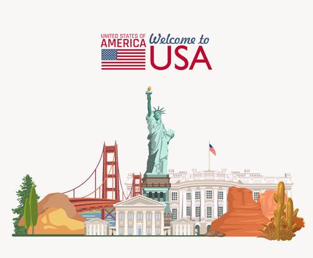 Ilustración de Welcome to USA. United States of America poster. Vector illustration about travel - Imagen libre de derechos