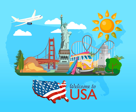 Illustration pour Welcome to USA. United States of America poster. Vector illustration about travel - image libre de droit