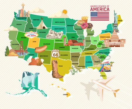 Ilustración de Welcome to USA. United States of America poster. Vector illustration about travel - Imagen libre de derechos