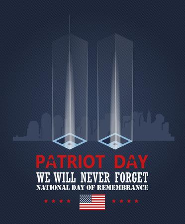 Ilustración de Patriot day vector poster. September 11. 9 / 11 - Imagen libre de derechos