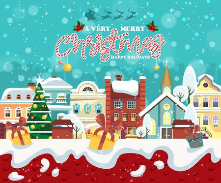 Ilustración de Merry Christmas and Happy New Year greeting card - Imagen libre de derechos