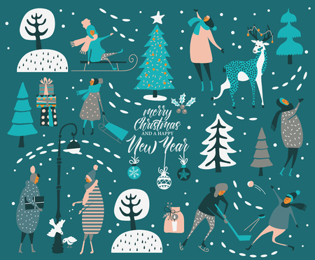 Ilustración de Merry Christmas and happy New year vector greeting card with winter games and people. Celebration template with playing cute people in vintage style. - Imagen libre de derechos