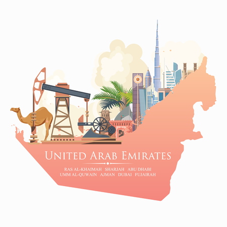 Illustration pour Vector travel poster of United Arab Emirates. UAE template with modern buildings and mosque in light style. - image libre de droit