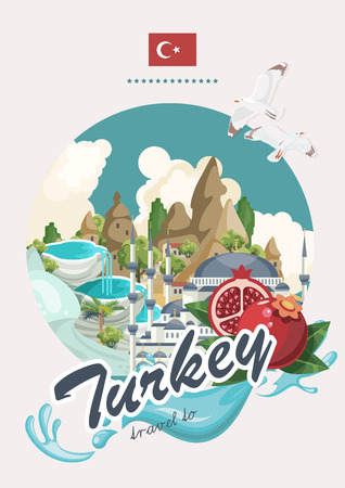 Illustration pour Turkey vector vacations illustration with turkish landmarks. Travel agency poster. - image libre de droit