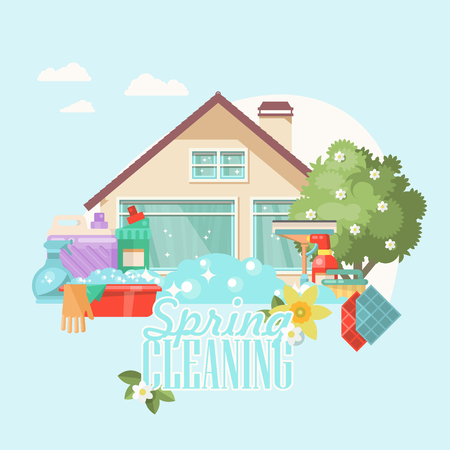 Illustration pour Spring cleaning vector illustration in modern flat style. - image libre de droit