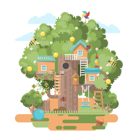 Illustration for Treehouse in colorful flat modern style - Royalty Free Image