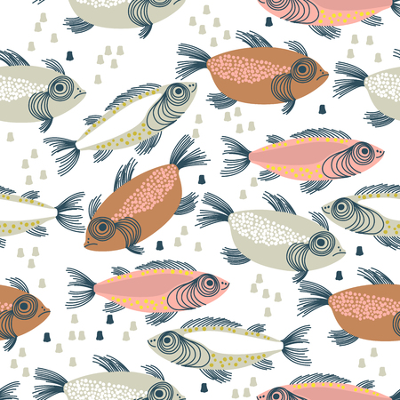 Ilustración de Seamless vector pattern with colorful fishes in scandinavian minimalist modern style. - Imagen libre de derechos
