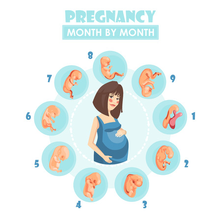 Illustrazione per Pregnant woman. Vector colorful illustration with pregnancy concept - Immagini Royalty Free