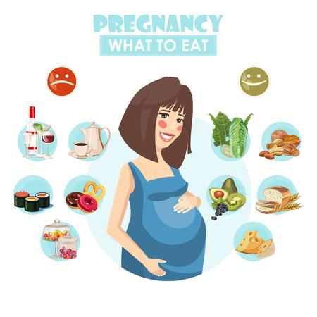 Illustration pour Pregnant woman. Vector colorful illustration with pregnancy concept. Healthy food - image libre de droit