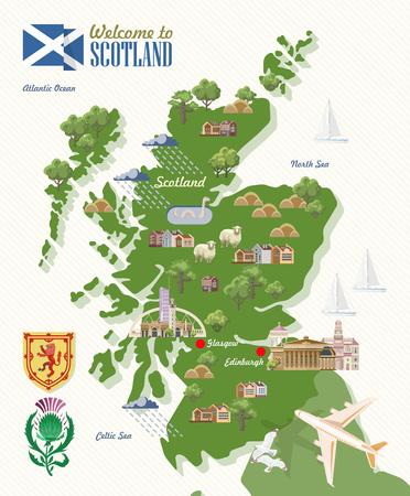 Illustration pour Scotland travel vector in modern style. Scottish landscapes - image libre de droit