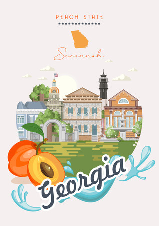 Illustration pour Georgia USA postcard. Peach state vector poster. Travel background in flat style. - image libre de droit