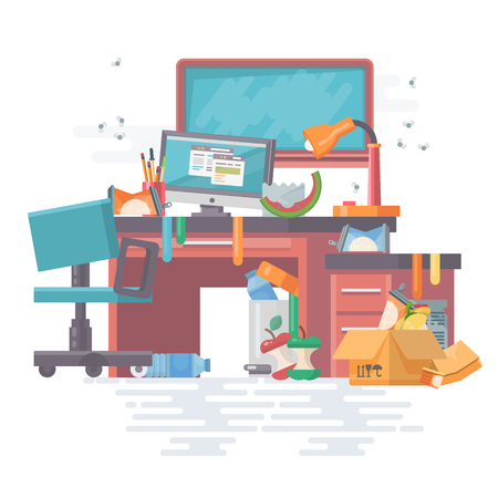 Ilustración de Mess work office with mess and modern gadgets, computer, pc, files, board, table, chair. Modern flat vector style. Place with a lot of garbage and litter with trash can. - Imagen libre de derechos