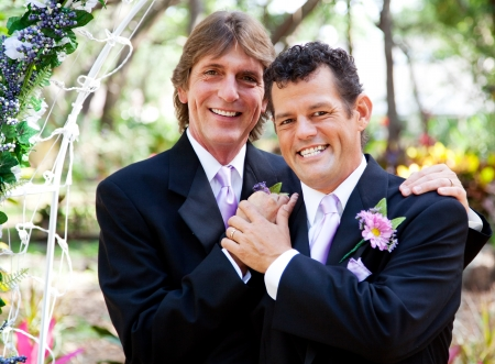 Wedding portrait of a very handsome gay couple