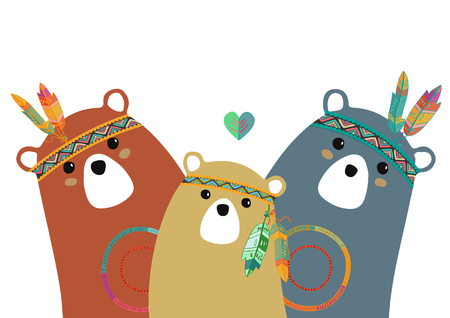 Photo pour tribal family of colored bears for baby room - image libre de droit