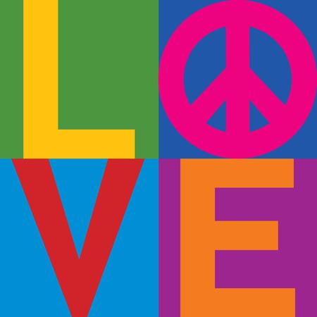 Ilustración de Type design of LOVE with Peace Symbol in a stacked color-block design   - Imagen libre de derechos