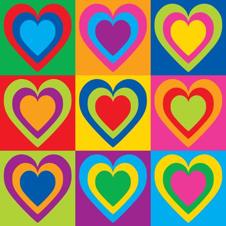 Illustration pour Pop Art Hearts in a colorful checkerboard design. - image libre de droit