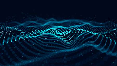 Photo pour Wave of particles. Abstract background with a dynamic wave. 3d rendering. - image libre de droit