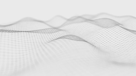 Photo pour Wave white background. Abstract white futuristic background. Wave with connecting dots and lines on dark background. Wave of particles. 3D rendering. - image libre de droit