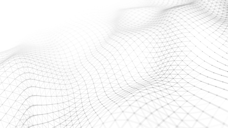 Foto de Data technology illustration. Abstract futuristic background. Wave with connecting dots and lines on dark background. Wave of particles. - Imagen libre de derechos
