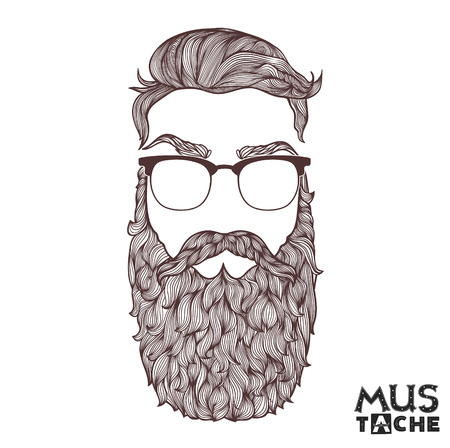 Illustration for Hand Drawn Mustache Beard and Hair Style. - Royalty Free Image