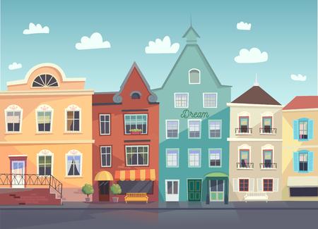 Illustration pour Sunny City street. Doors and windows boutiques, shops, background. - image libre de droit