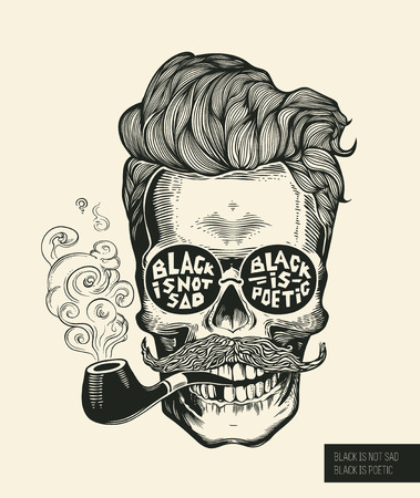 Ilustración de Skull. Hipster skull silhouette with mustache, beard, tobacco pipes and glasses. Lettering Black is not sad, black is poetic Vector illustration in vintage engraving style. Perfect for t-shirt print. - Imagen libre de derechos
